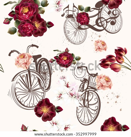 Beautiful seamless background with roses and bikes in vintage style - stock vector