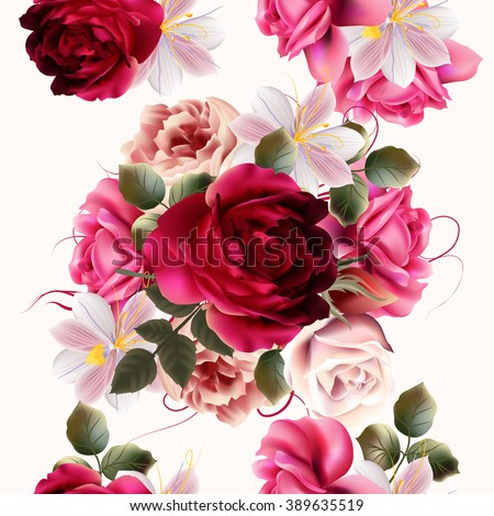 Beautiful seamless background with roses and hyacinth flowers  vector illustration - stock vector