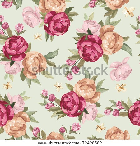 Beautiful Seamless color peony pattern on green background, vector illustration - stock vector