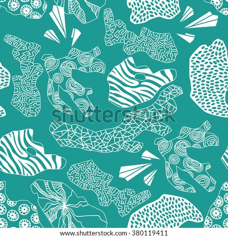 beautiful seamless coral pattern under the sea abstract elements vector background