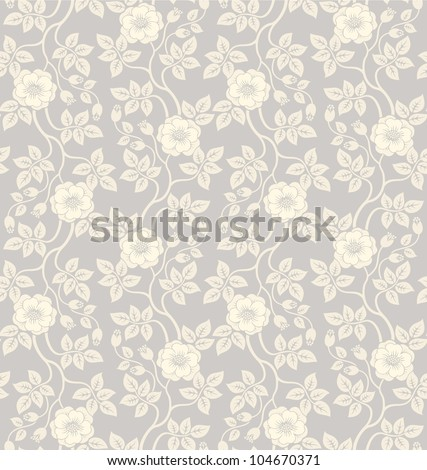 Beautiful seamless floral background with flowers and leaves - stock vector
