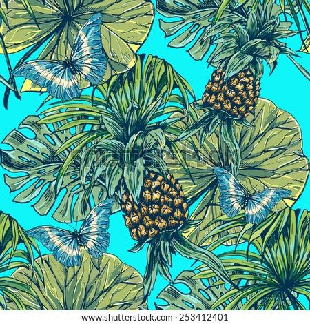 Beautiful seamless floral jungle pattern background. Tropical palm leaves with butterflies and pineapples, plants - stock vector