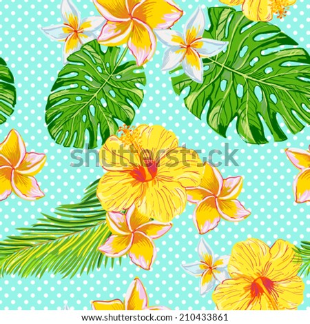 Beautiful seamless floral pattern background. Tropical flowers and plants - stock vector