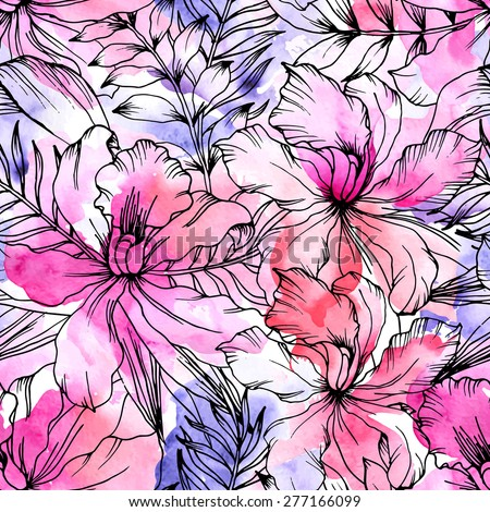 Beautiful seamless floral pattern. Flower vector background. Watercolor painting - stock vector
