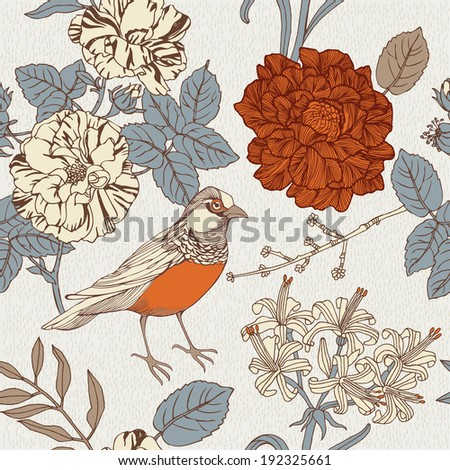 Beautiful seamless floral pattern, flower vector illustration. Elegance wallpaper with of red roses on floral background. - stock vector