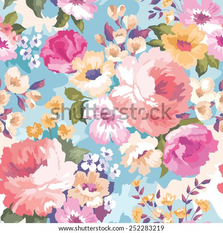 Beautiful seamless floral pattern with watercolor background. Flower vector illustration - stock vector
