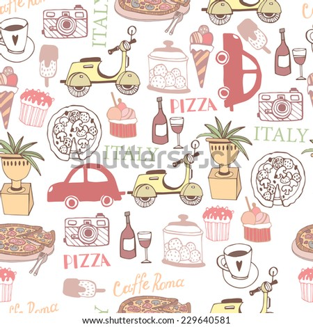 Beautiful seamless Illustration with Italy decorative elements set. - stock vector