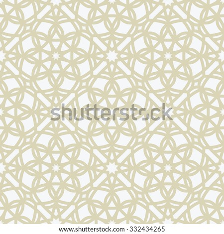 Beautiful seamless pattern for your design. Vector oriental background. Beige color - stock vector