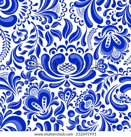 Beautiful seamless pattern in Russian style gzhel. - stock vector