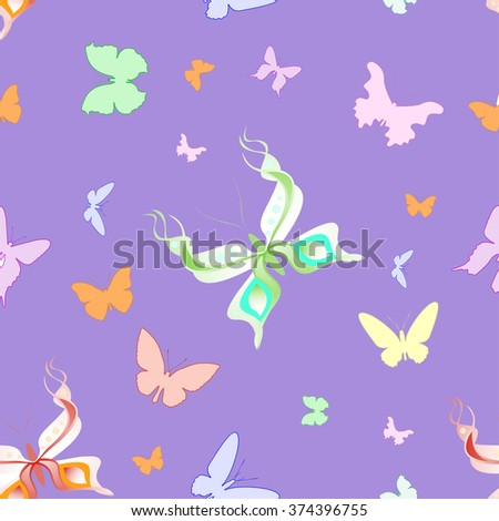 Beautiful seamless pattern of different butterflies - stock vector
