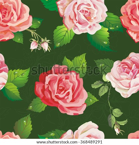 Beautiful seamless pattern on floral background. Stylish vector illustration texture with roses - stock vector