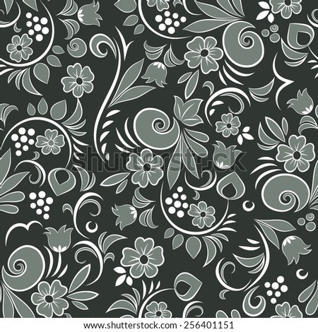 Beautiful seamless pattern with abstract floral elements 4. Vector background - stock vector