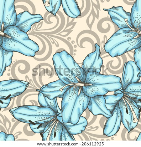 Beautiful seamless pattern with blue lilies flowers and abstract floral swirls - stock vector