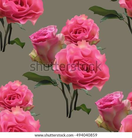 Beautiful seamless pattern with bouquet of pink roses on gray background.Vector illustration.