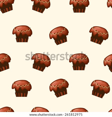 Beautiful seamless pattern with cupcakes, easy to use - just drag and drop to your swatch panel. - stock vector