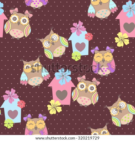 Beautiful seamless pattern with cute owls and birdhouse - stock vector