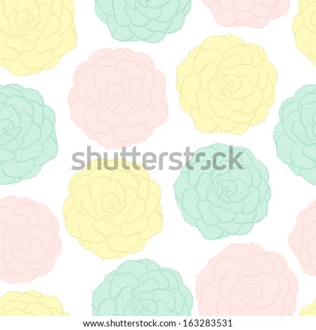 Beautiful seamless pattern with exotic flowers made in pastel colors. Perfect background for romantic and girly design. - stock vector