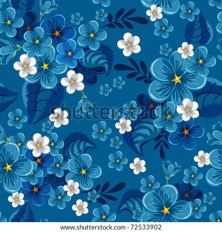 Beautiful seamless pattern with forget-me-not on blue background, vector illustration - stock vector