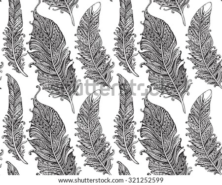 Beautiful seamless pattern with hand drawn stylized feathers in doodle style. Monochrome vector endless background - stock vector
