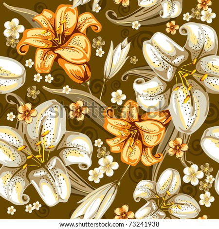 Beautiful seamless pattern with lilies on dark background, vector illustration - stock vector