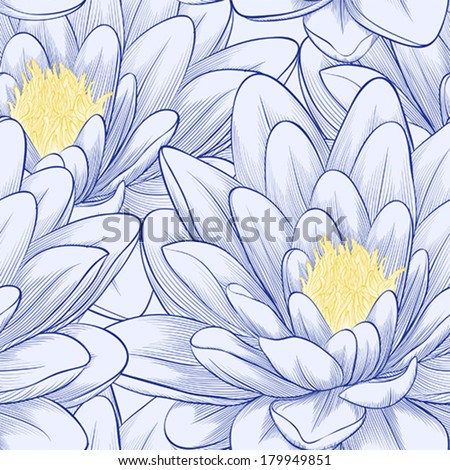 Beautiful seamless pattern with lotus flowers. Hand-drawn contour lines and strokes. Perfect for background greeting cards and invitations of the wedding, birthday - stock vector