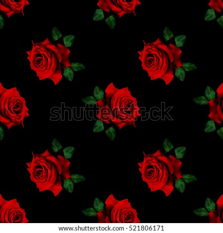 Beautiful seamless pattern with red roses on black background.