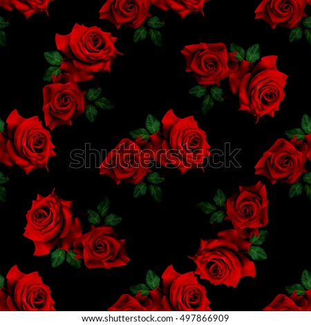 Beautiful seamless pattern with red roses on black background.Vector illustration.