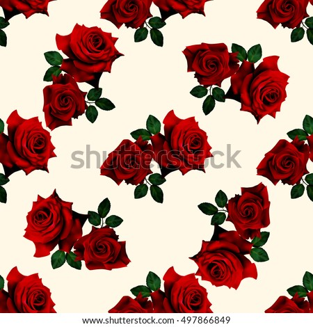 Beautiful seamless pattern with red roses on white background. Vector illustration.