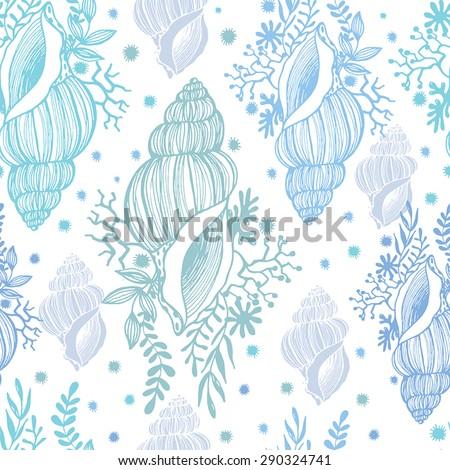 Beautiful seamless pattern with shells. Sea pattern - stock vector