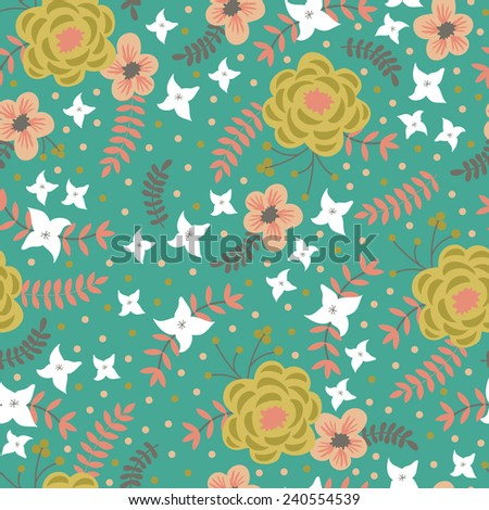 Beautiful seamless pattern with spring flowers. Bright illustration, can be used for creating card, invitation card for wedding,wallpaper and textile. - stock vector