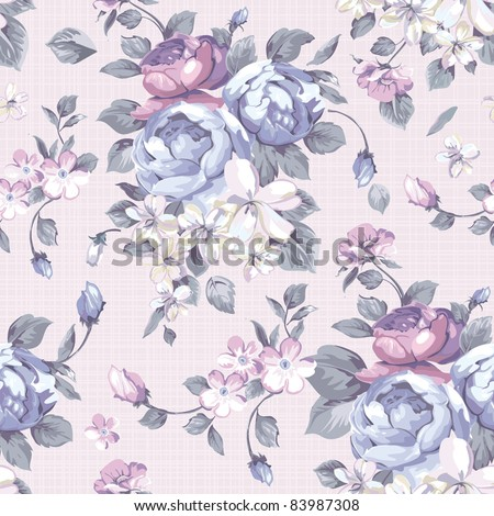 Beautiful Seamless peony pattern on pink background, vector illustration