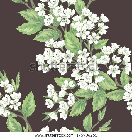Beautiful  seamless spring pattern with green branches. - stock vector