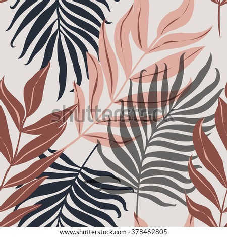 Beautiful seamless tropical jungle floral pattern background with palm leaves - stock vector