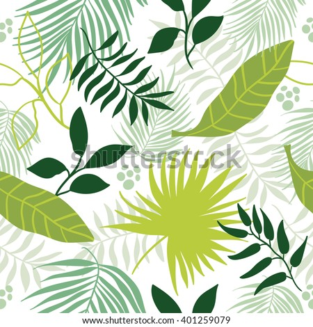 Beautiful seamless tropical pattern background.  - stock vector