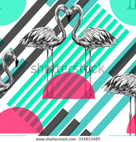 Beautiful seamless vector fashionable pattern background with flamingos, exotic birds. Abstract striped geometric texture - stock vector