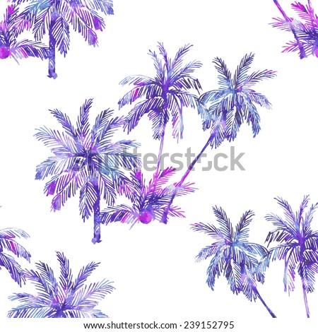 Beautiful seamless vector floral pattern background. Watercolor palm trees - stock vector