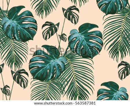 Beautiful Seamless Vector Floral Summer Pattern Background With Tropical Palm Leaves Perfect For Wallpapers