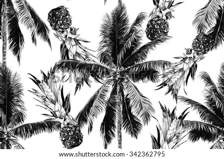 Beautiful seamless vector floral tropical jungle pattern background with monochrome palm trees and pineapples - stock vector