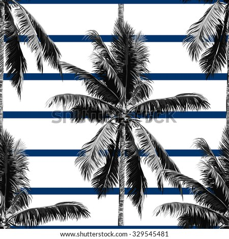 Beautiful seamless vector floral tropical jungle pattern background with palm trees, abstract striped geometric pattern - stock vector