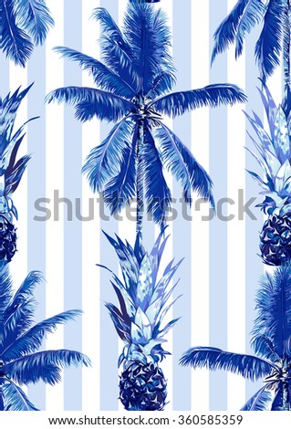 Beautiful seamless vector floral tropical jungle pattern background with palm trees and pineapples. Abstract striped geometric texture - stock vector