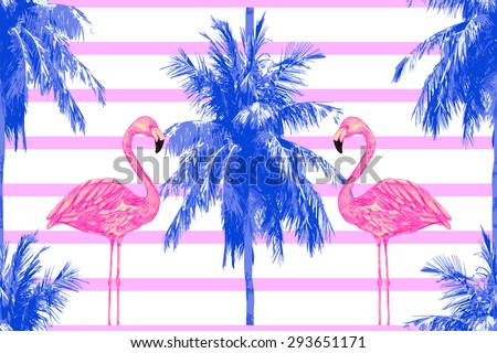 Beautiful seamless vector floral tropical jungle pattern background with palm trees and watercolor pink flamingos. Abstract stripped geometric pattern - stock vector