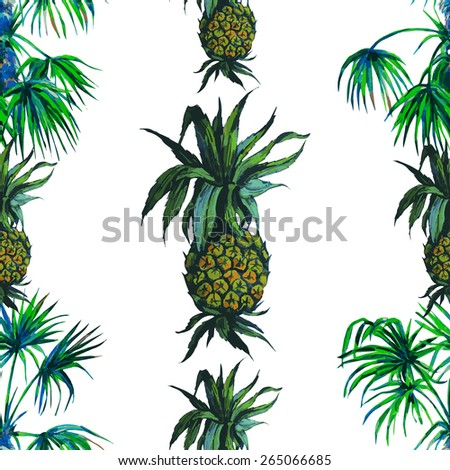 Beautiful seamless vector floral tropical pattern background. Watercolor palm trees and pineapples - stock vector