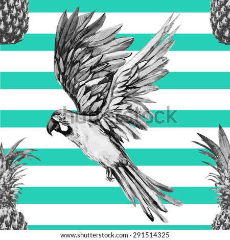 Beautiful seamless vector floral tropical pattern background. Watercolor parrot and pineapples, abstract stripped geometric texture - stock vector