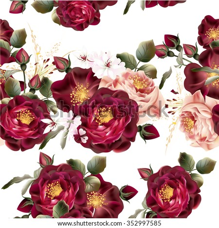 Beautiful seamless wallpaper pattern with realistic vector roses in vintage style - stock vector