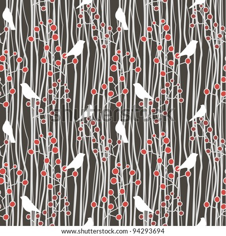 beautiful seamless with birds and twigs in folkloric style - stock vector
