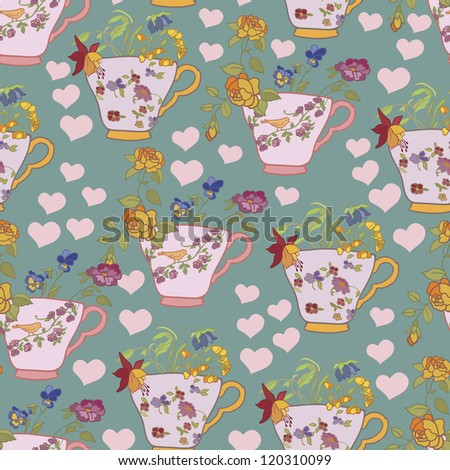 Beautiful seamless with cups   background, wallpaper, fabric - stock vector