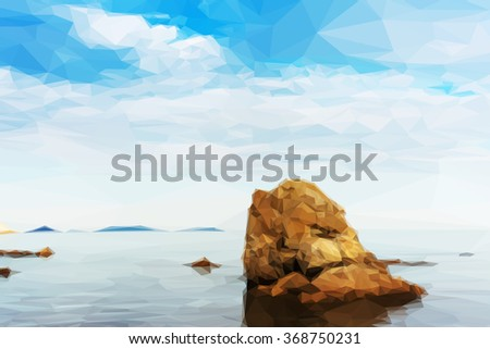 Beautiful seascape with rocks and cloudy sky in low poly style.  - stock vector