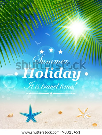 Beautiful seaside view on sunny day with sand, shells and palm leaves. Summer holidays vector background. - stock vector