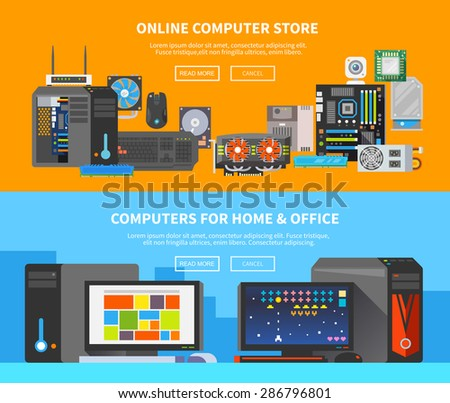 Beautiful set of colorful flat vector banners on the theme: assembling a desktop computer, buy computer, computer repair . All items are created with love especially for your amazing projects. - stock vector