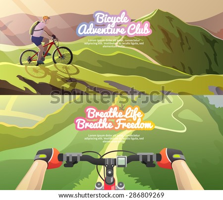 Beautiful set of colorful flat vector banners on the theme: mountain biking. All items are created with love especially for your amazing projects. - stock vector